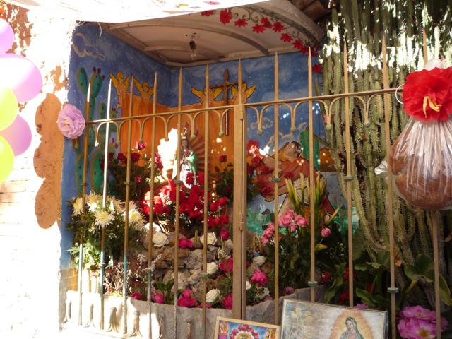 Pastor and Lourdes' altar to the Virgin of Guadalupe