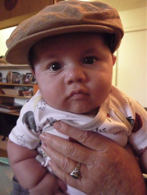 Andreas, 10 weeks old. We bought him a hat like his dads