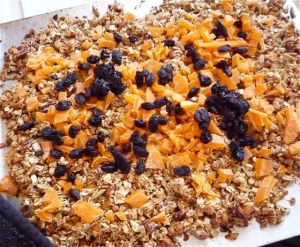 Sprinkle the dry fruit on top, then mix it in before putting back in the oven.