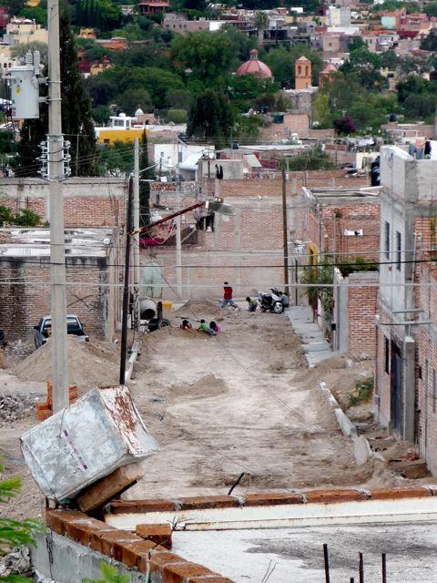 Calle San Martin - sidewalks going in this week, then the cobblestones