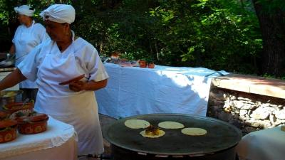 Quesadillas, eggs and cafe de la olla from the chefs on the outside patio