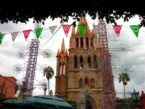 Castillo fireworks in front of the church